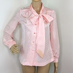 Vintage Light Pink PussyBow Blouse